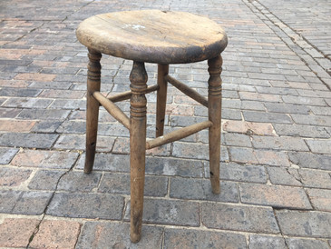 Rustic Wooden Stool, Antique