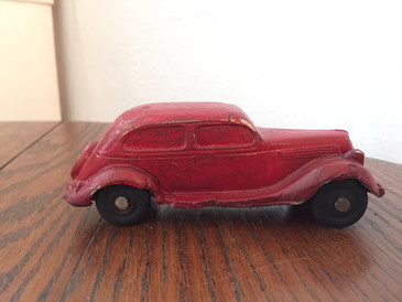 Red Rubber Toy Ford Sedan, 1930s