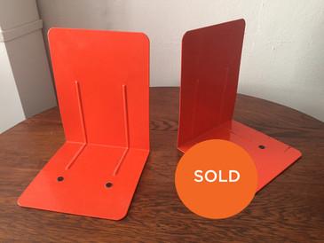 Mid Century Orange Enameled Porcelain Bookends