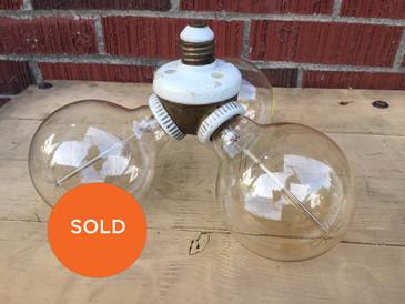Antique Triple Cluster Porcelain and Brass Light Socket