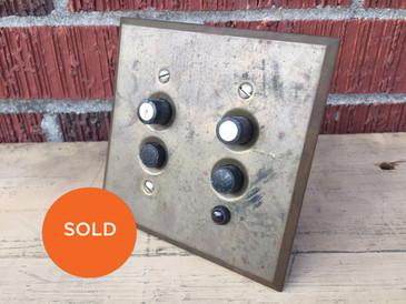 Antique Brass Double Push Button Light Switch