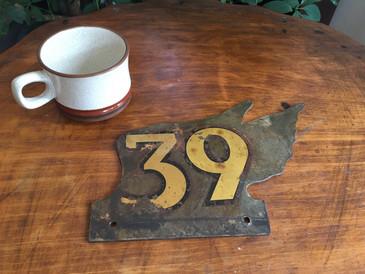 Vintage Sign Number 39 Water Decal on Steel