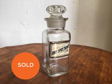 "Antique Apothecary Small Bottle, ""Ant.e.Pot.Tart"""