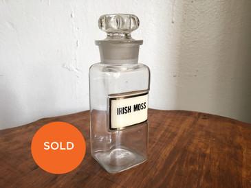 "Antique Apothecary Medium Bottle, ""Irish Moss"""