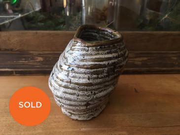 """Coil Pot, Vintage Ceramic Asymmetric Vessel, 5""""H"""