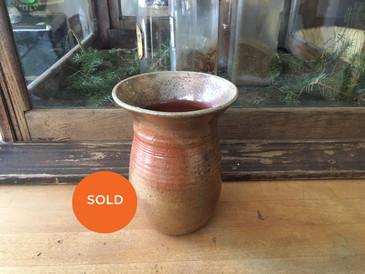 Stoneware Vase, Vintage Rust Glaze Handmade Vessel