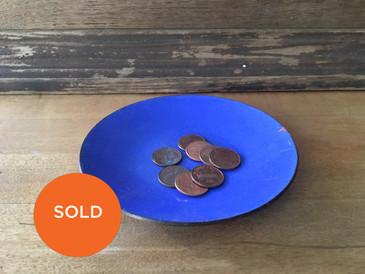 "Blue Porcelain Vintage Dish, 5"" diameter"