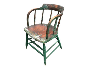 Green Wooden Spindle-back Chair, Antique
