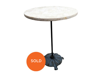 Marble Side Table with Scalloped Base, Antique