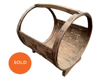 Wood Woven Log Holder, Vintage Firewood Basket