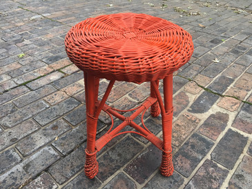 Tomato Red Wicker Foot Stool, Vintage
