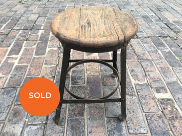 Short Industrial Stool with Wood Top, Vintage