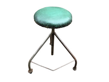 Medical Stool with Green Upholstered Seat, Antique