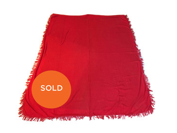 Red Chenille Blanket, Vintage New Old Stock