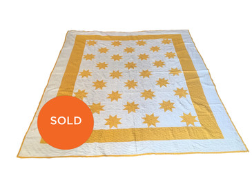 Yellow and White Star Quilt, Vintage
