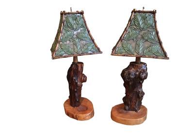 Pair of Stump Lamps, Rustic Campy Vintage