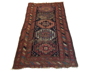 "Kazak, Geometric Rug 6'5""x3'6"", Antique"