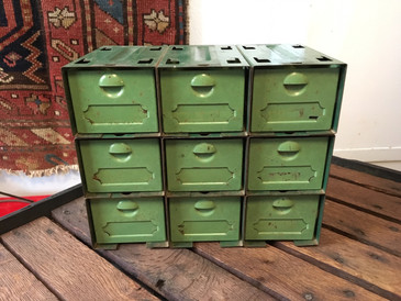 Small Metal Drawers, Two Tone Green, Vintage