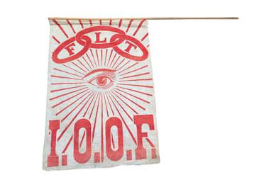Oddfellows Flag, I.O.O.F. on Muslin vintage
