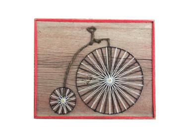 Bicycle String Art on Wood, Vintage