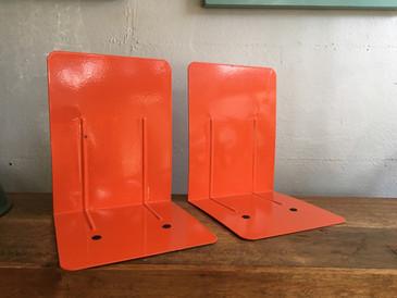 Mid Century Orange Enameled Bookend Pair