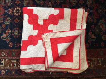 Red and White Drunkard's Path Quilt, Antique