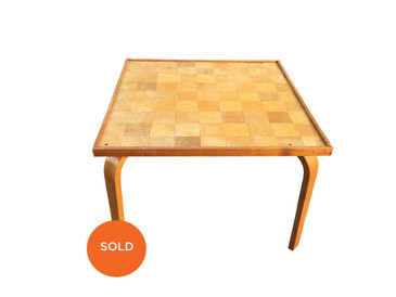 Danish Side Table, Checkered Mid Century Modern