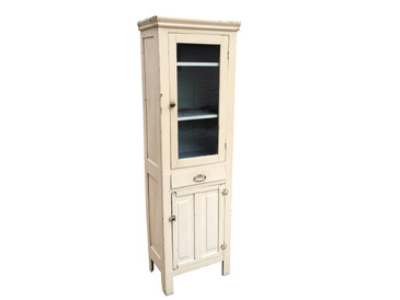 Skinny Cream Cabinet with Glass Door, Antique