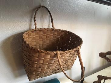 Large Plain Weave Market Basket, Antique