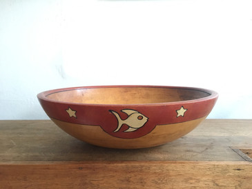 Primitive Wooden Bowl, adorned with Fish and Stars