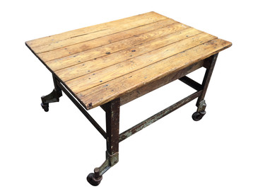 Industrial Wood Coffee Table, Vintage