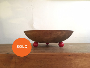Wooden Bowl with Red Round Feet, Vintage