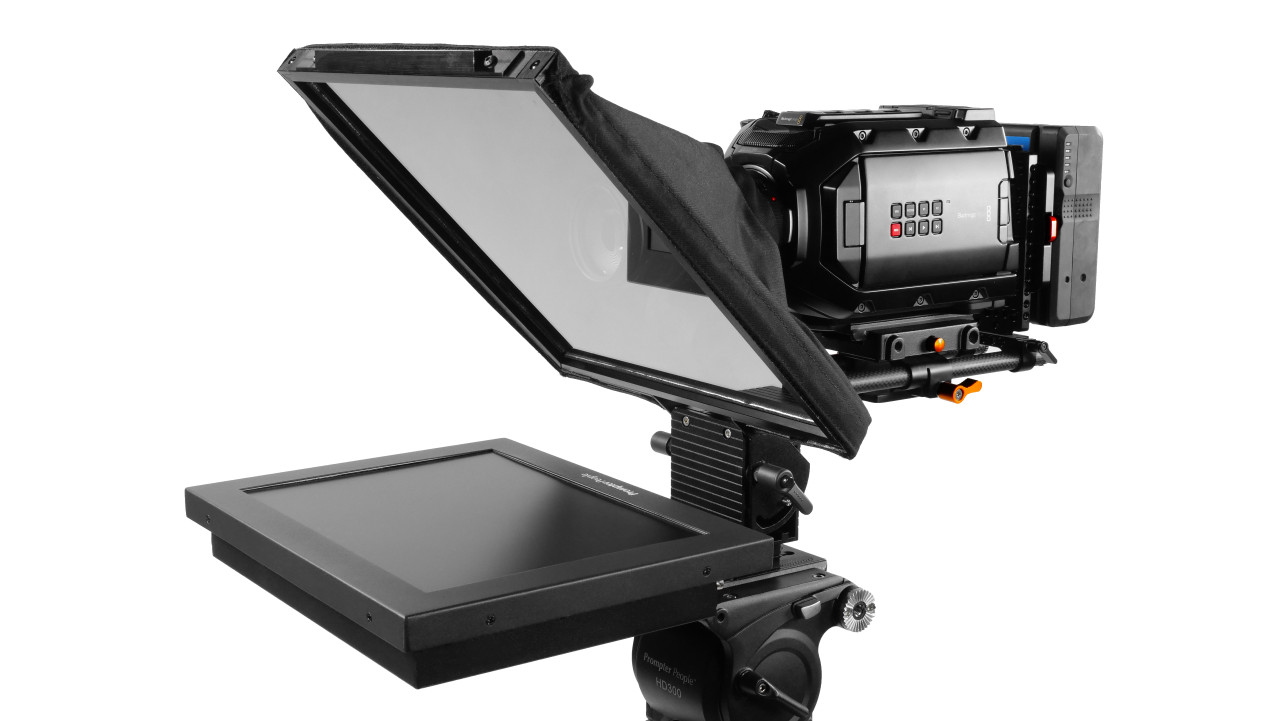 Prompter Pal iPad 12 HighBright HD-SDI, HDMI 1000 NIT AutoReversing Monitor 15mm Railmount Teleprompter