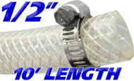 1/2 Inch Reinforced Clear Fuel Hose - 10 Foot Length (202036-10)
