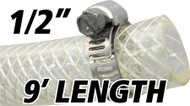 1/2 Inch Reinforced Clear Fuel Hose - 9 Foot Length (202036-9)