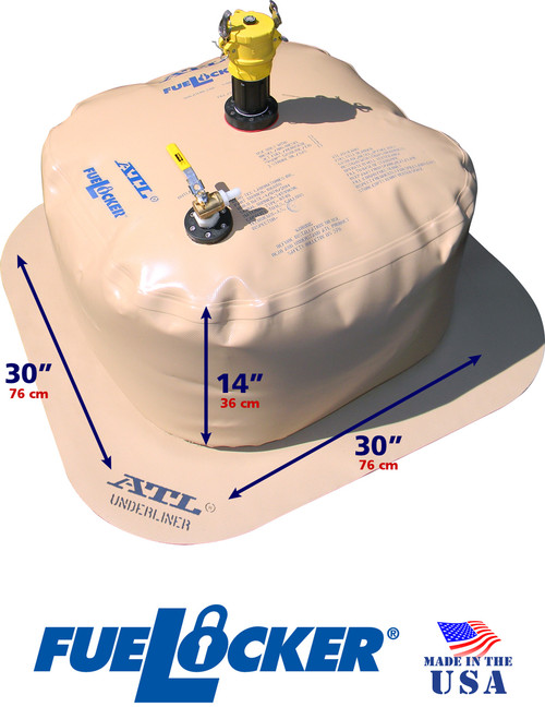 50 Gallon ATL FueLocker Bladder With Filled Dimensions
