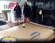 500 gallon ATL Petro-Flex on deck of Mega Yacht with crew