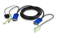 ATEN 2L-5202B: 2M/6' VGA & Audio cable with port switching button built-in
