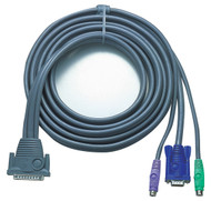 ATEN 2L1605P: 15FT DB25(M)-HD15M/DIN6M KVM Cable F/CS-128A