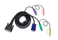 ATEN 2L-1701P: 6FT DB25(M)-HD15M/DIN6M KVM Cable F/CS228 CS428