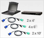 ATEN CLCS1308MUKIT: 17in. LCD Console and 8-port USB/PS2 KVM Switch Bundle w/ 8 USB KVM cables
