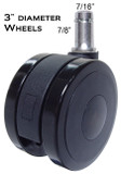 "3"" Diameter Heavy Duty Soft Wheel Casters for All Types Of Hard Floors"