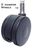 "Heavy Duty Chair Casters 3"" Wheel Diameter Rated 175 lbs Each 5 pc Set"