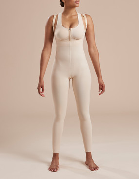 Marena Recovery SFBHL2 ankle length girdle with high back zipperless, seen here with the 804ZP compression bra easy on zipper (sold separately).