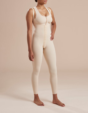 Marena Recovery SFBHL ankle length girdle with high-back, seen here with the 804ZP compression bra easy on zipper (sold separately).