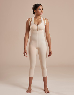 Marena Recovery SFBHM2 capri length girdle with high back zipperless, seen here with the 804ZP compression bra easy on zipper (sold separately).