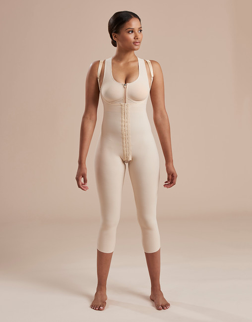 Marena Recovery SFBHM capri length girdle with high-back, seen here with the 804ZP compression bra easy on zipper (sold separately).