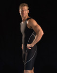 Marena Sport 505 sleeveless compression tank, seen here with the 607 elite compression bike short for men (sold separately).