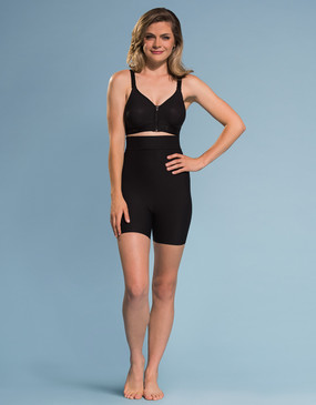 Marena Shape ME-321 high waist compression mini-short, seen here with the B09Z seamless cup bra with zipper (sold separately).