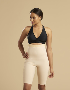 Marena Recovery LGS-SZ thigh-length compression girdle with separating zippers , seen here with the ME-811 bra (sold separately).